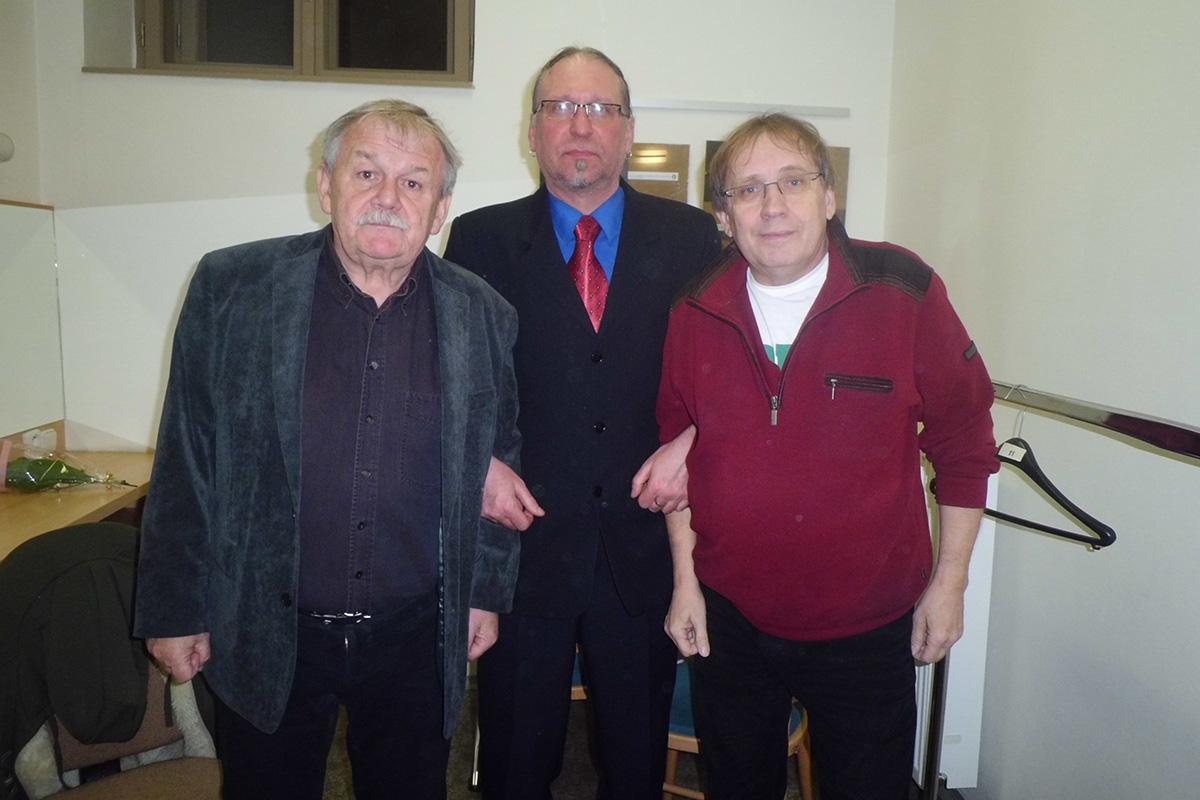 V divadle - s Karlem Šípem a Josfem Náhlovským